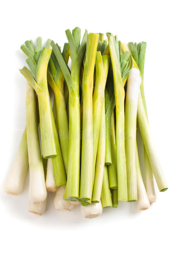 Closeup of leek. Closeup of freshly cut leek isolated on white background royalty free stock photo
