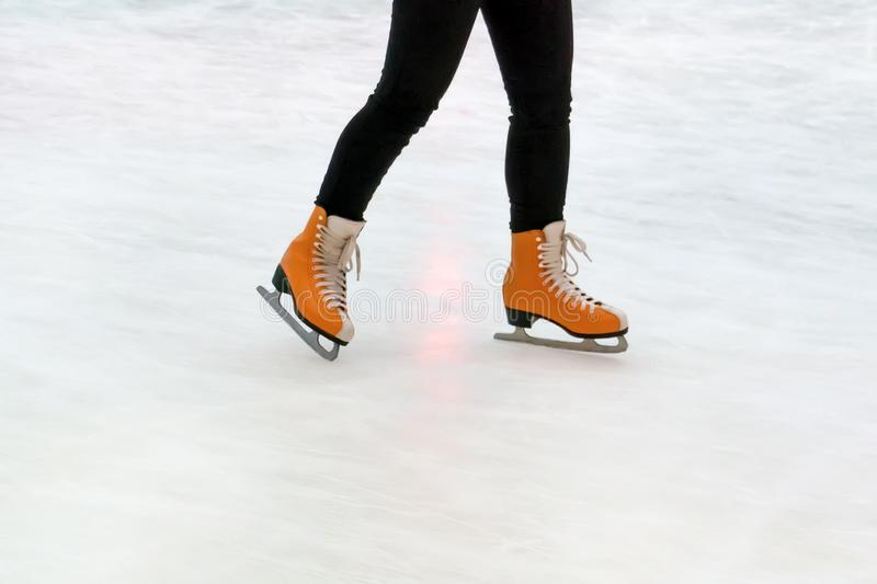 Closeup of legs in skating shoes. Blank copy space. stock photo