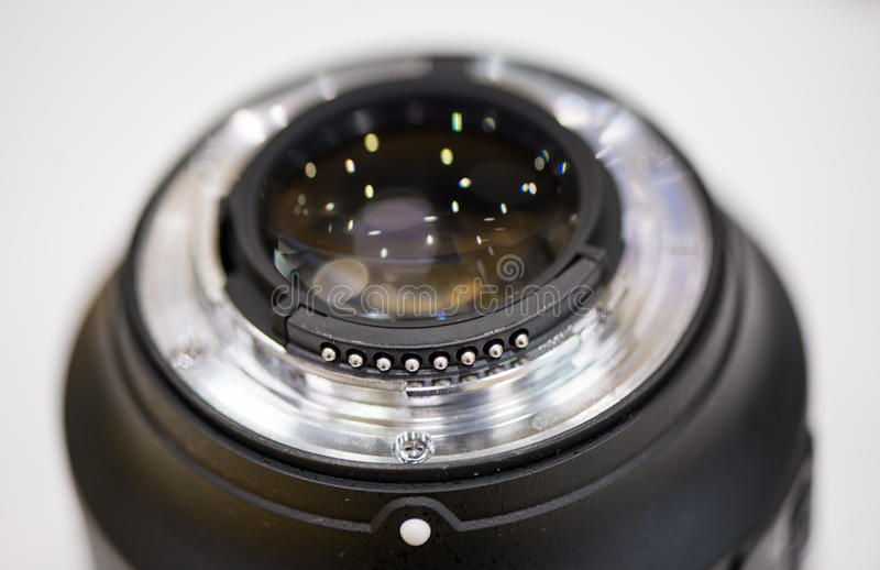 Closeup lens mount. Against white background stock photography