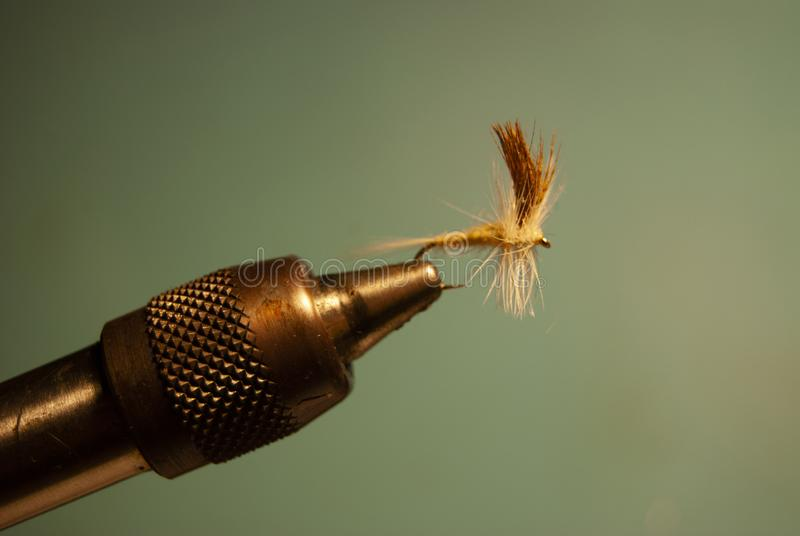 Fly in a Vice for Fly Fishing stock photography