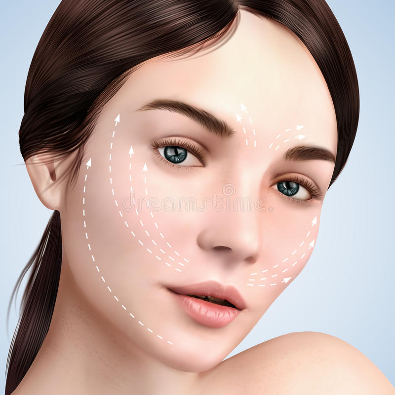 Closeup look at beautiful model. Skin lifting effect with white arrows on face for cosmetic or medical procedures, 3d illustration