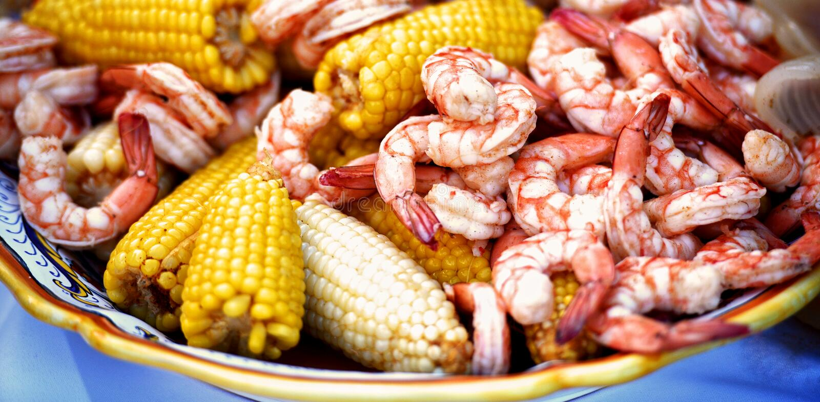 A closeup of a low-country shrimp boil. royalty free stock images