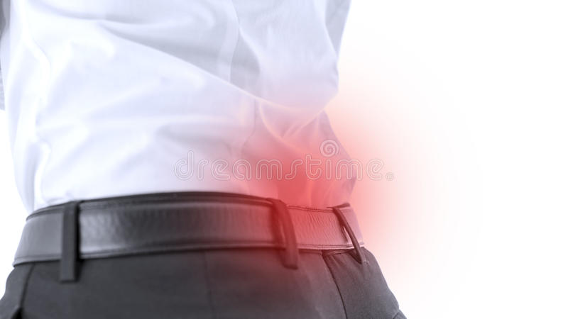 Closeup of lower back pain royalty free stock photo