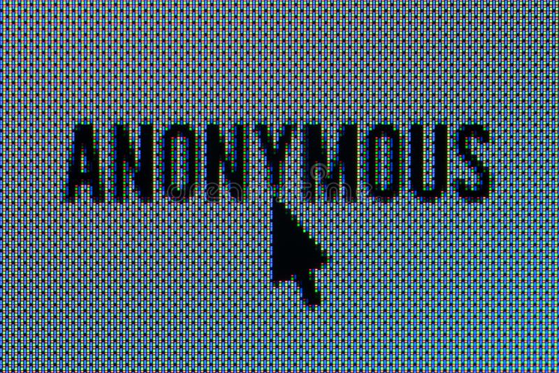 Anonymous text super macro in OLED screen with mouse. Closeup macro of Anonymous text in OLED screen with mouse pointer royalty free stock photo