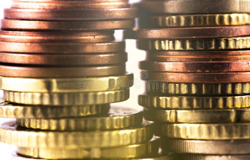 Rows of metal coins. Closeup macro 2 rows of metal coins stock photos