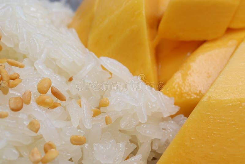 Closeup macro shot of yellow mango with sticky rice, thai sweet food. Closeup macro shot of yellow mango with sticky rice on top nuts, thai sweet food stock photo
