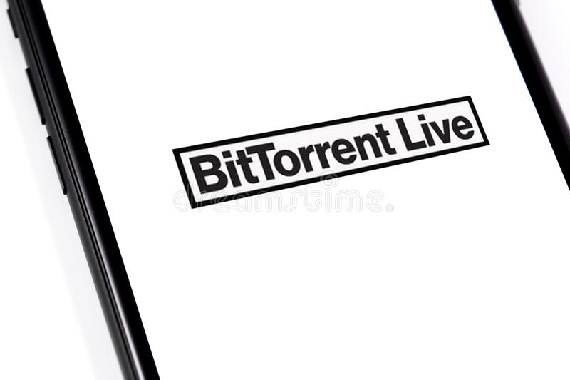 Closeup macro smartphone with BitTorrentLIVE logo. Website of BitTorrent, a communication protocol for peer-to-peer file sharing P2P. Moscow, Russia - March 26 stock photos