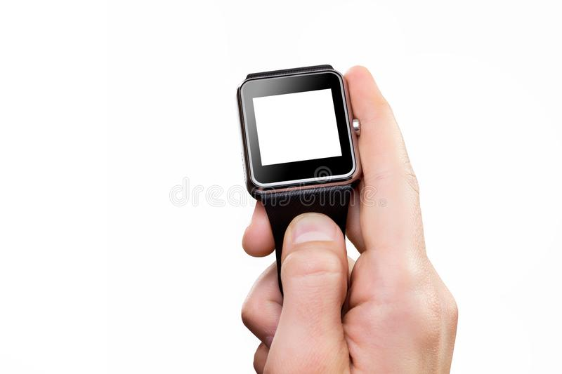 Closeup male hand holding smart watch isolated at white. Background stock photos