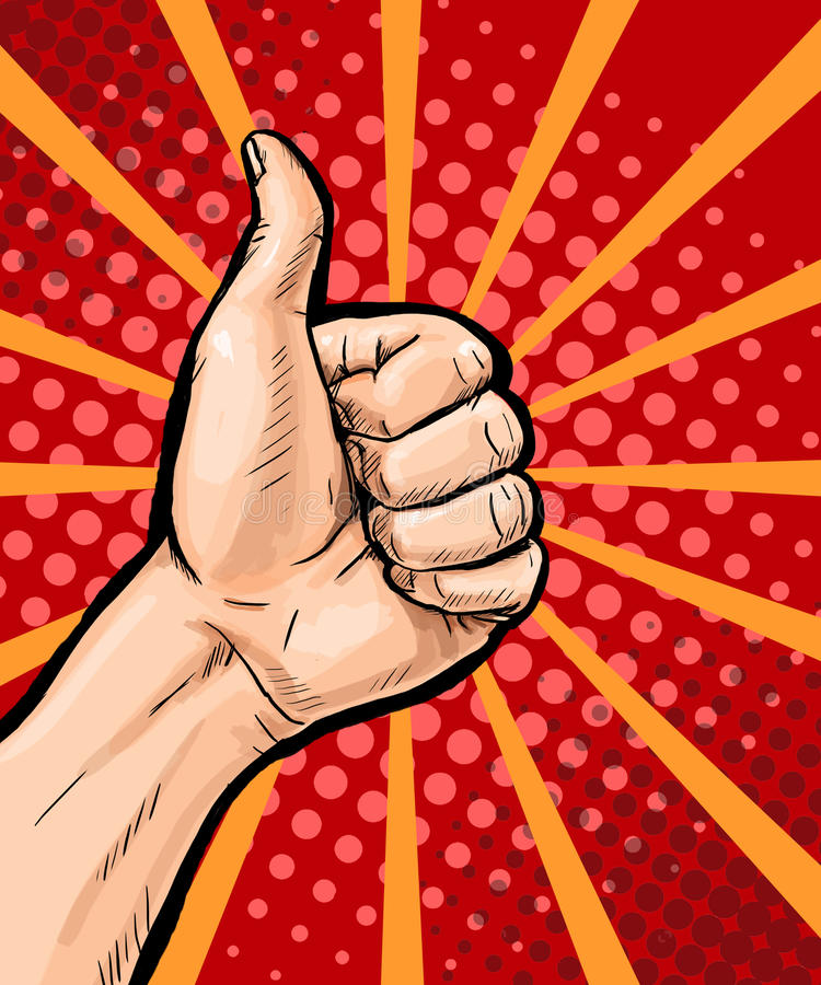 Closeup of male hand showing thumbs up sign on pop art background. Pop Art poster. Pop Art background. isolated, message, support, vector illustration