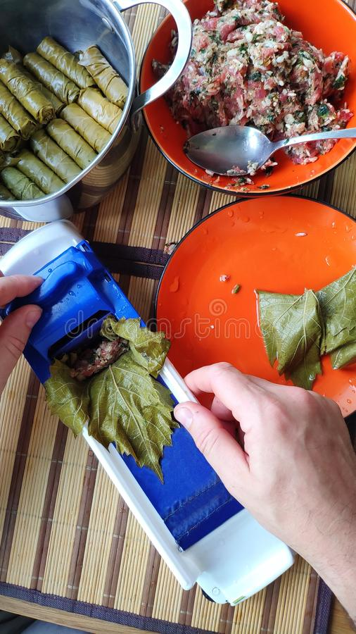 Close-up of male hands making Dolma, tolma, sarma, dolmah stuffed grape leaves with rice and meat using a special device, royalty free stock photography