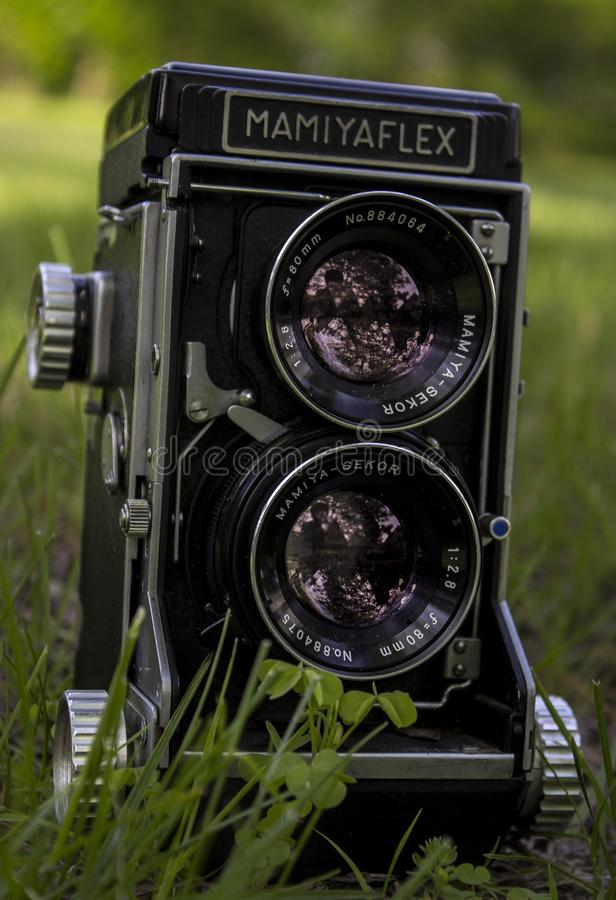 Closeup of Mamiya Flex Twin-lens Camera on Grass royalty free stock images