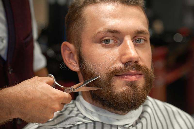 Closeup of man getting styling of beard in barber shop. Closeup of young men sitting in chair in barber shop, looking at camera and smiling. Hand of professional royalty free stock photos