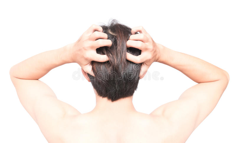 Closeup man hand itchy scalp, Hair care healthy concept. Closeup man hand itchy scalp, Hair care concept royalty free stock photos