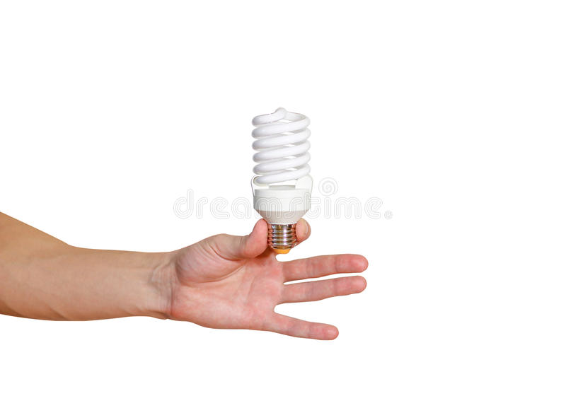 Closeup of man's hand holding energy saving lamp. Recycling, ele royalty free stock photos