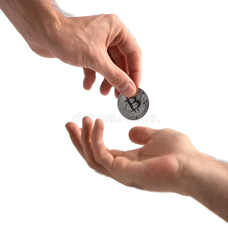 Closeup man`s hand holding silver Bitcoin, isolated on white background. Digital currency money trading with cryptocurrency, coin vector illustration