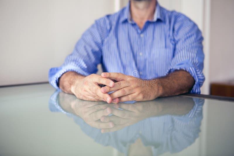 Closeup of man's hands stock images