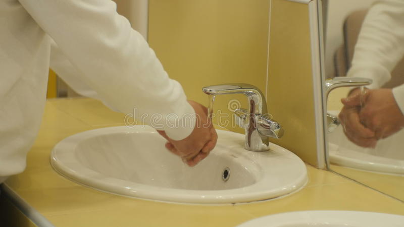 Closeup Man In White Shirt Wash Both Hand In Public Toilet Stock ...