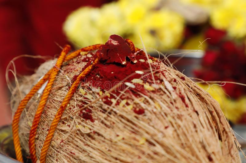 Closeup mangalsutra, South Indian wedding rituals. royalty free stock photos