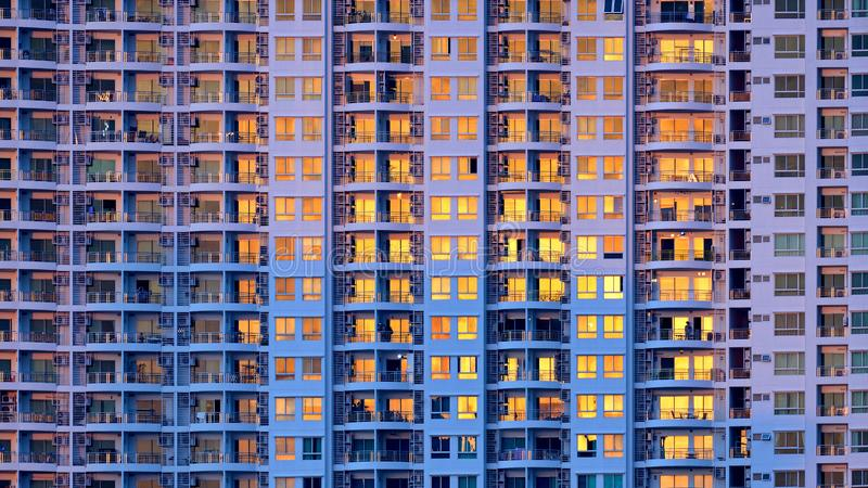 Closeup of many windows on a tall building. Closeup of many windows on tall building royalty free stock image