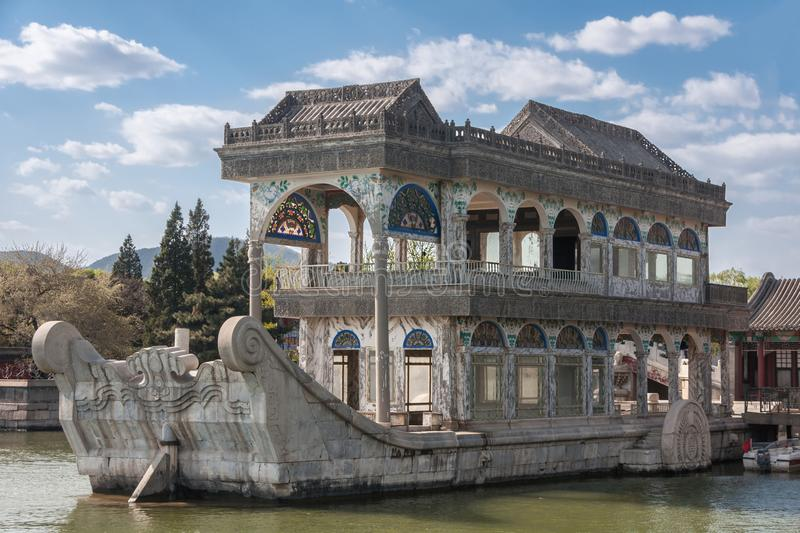 Closeup of marble pleasure boat on lake at Summer Palace, Beijing. royalty free stock photo