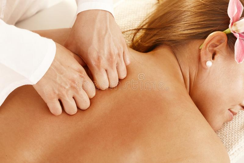 Closeup of massage treatment stock photography