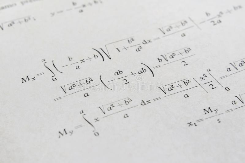 Advanced math example stock images