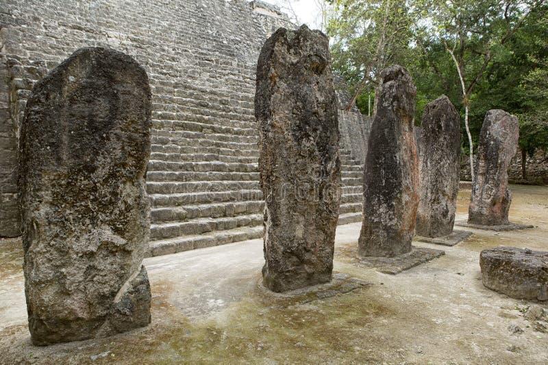 Maya stelae at the Calakmul in Mexico. Closeup of maya stelae at the Calakmul archeological site in Mexico stock photos