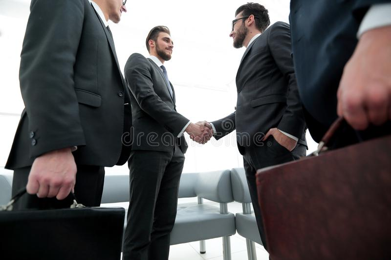 Closeup.meeting business partners. stock photography