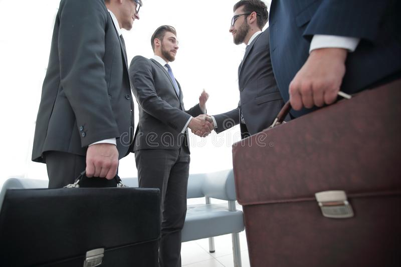 Closeup.meeting business partners. royalty free stock photo