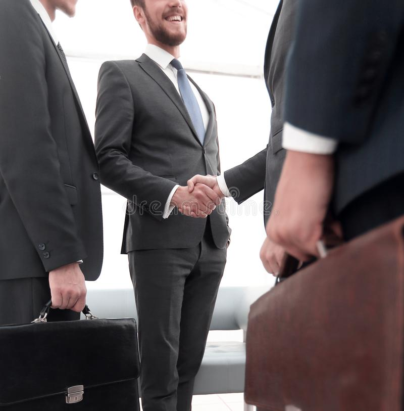 Closeup.meeting business partners. royalty free stock image