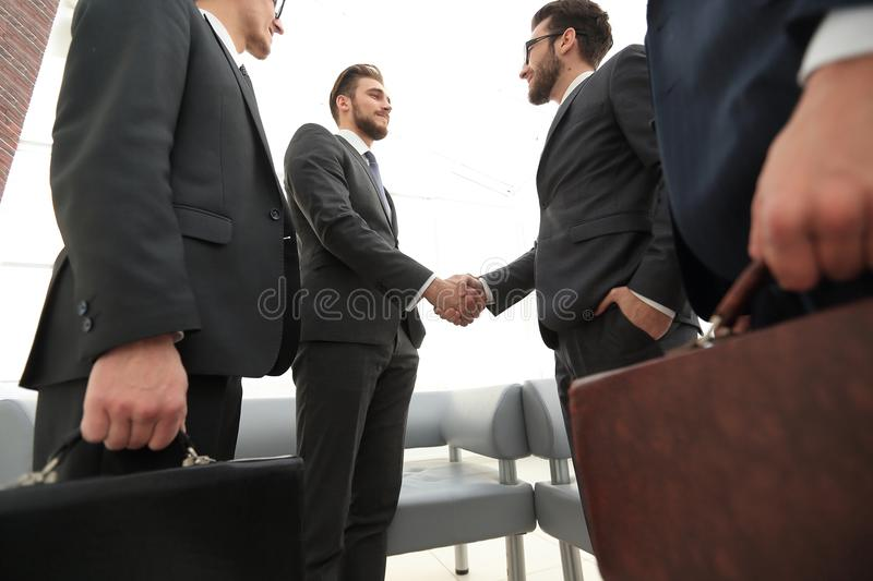 Closeup.meeting business partners. royalty free stock images