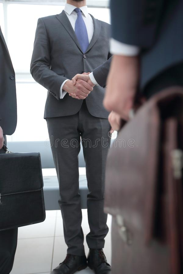 Closeup.meeting business partners. royalty free stock photos