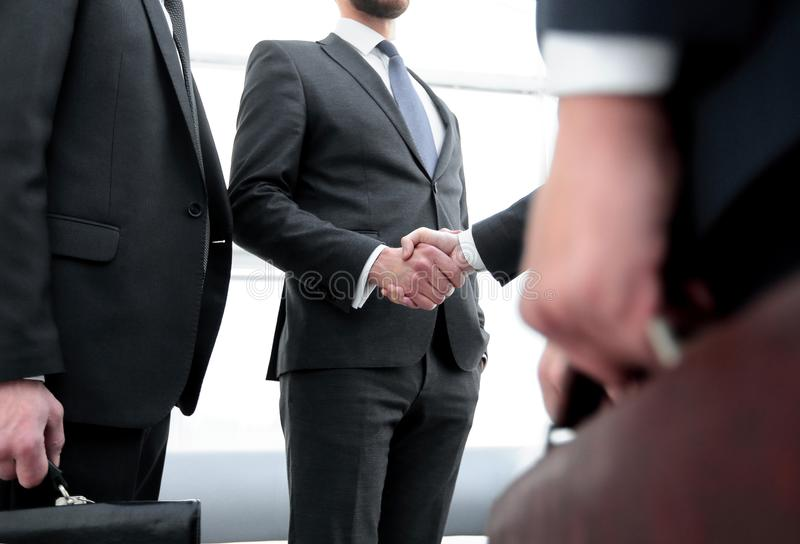 Closeup.meeting business partners. royalty free stock photography