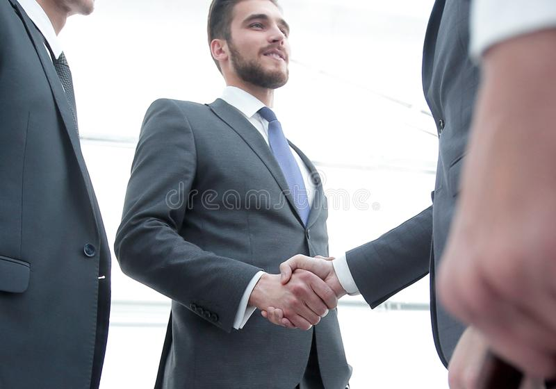 Closeup.meeting business partners. stock photo