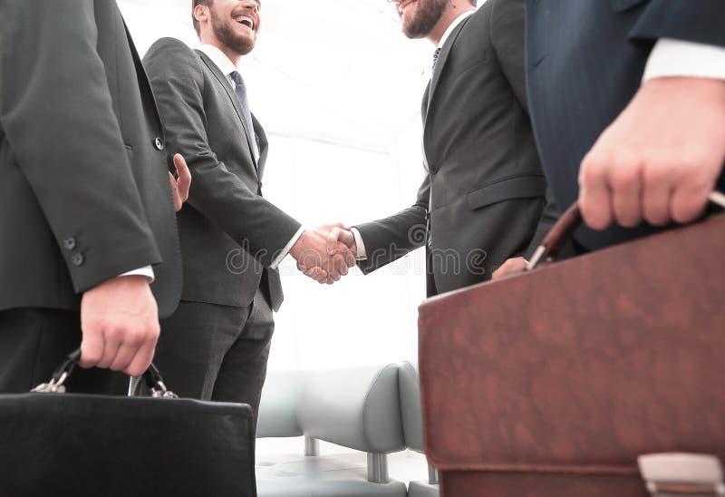 Closeup.meeting business partners. royalty free stock photos