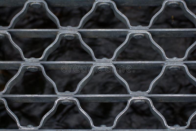 Closeup of metal bridge over stream royalty free stock images