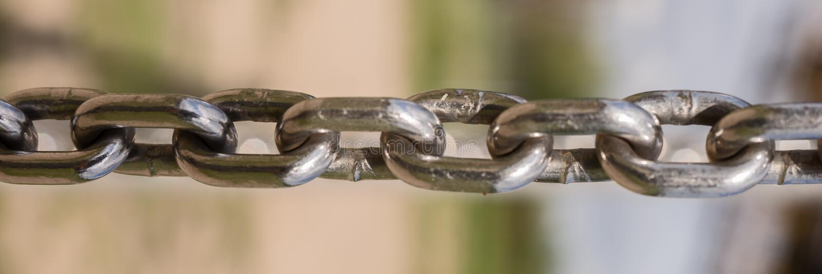Closeup of metal chain stock image