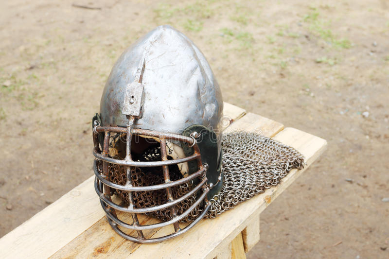 Closeup of metal medieval helmet with chain stock photos