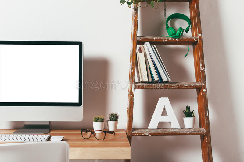 Closeup of minimal office on white background. royalty free stock photography