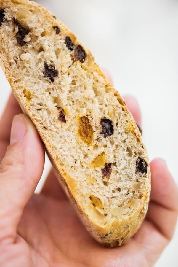Closeup of mixed flours bread slice royalty free stock photos