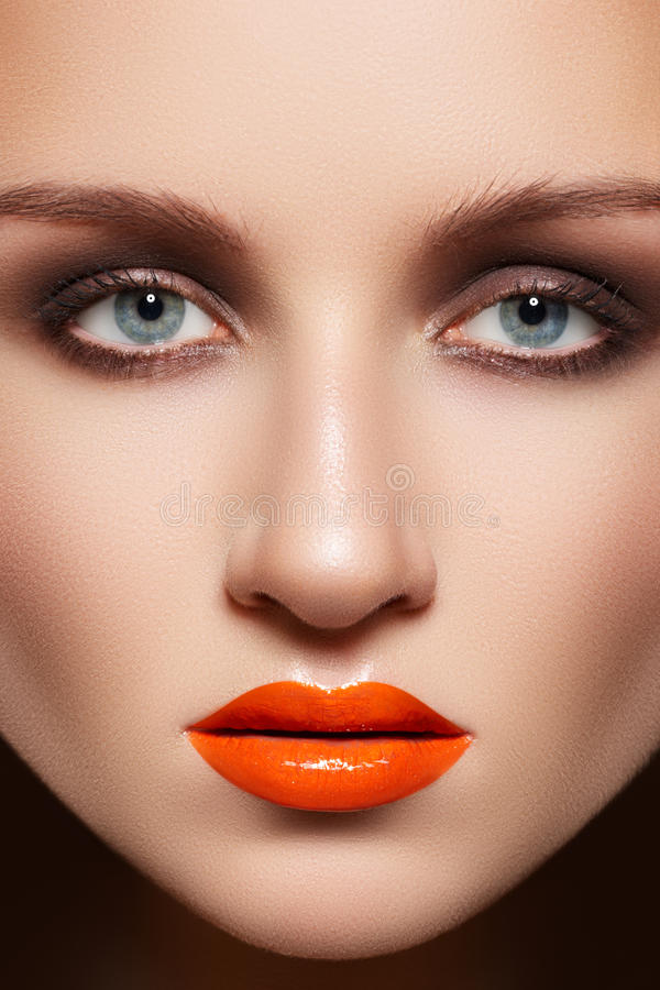 Download Closeup Model Face With Fashion Make-up, Lip Gloss Stock Image - Image: 21454991