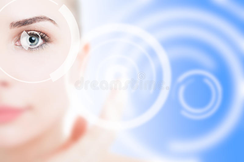 Closeup of modern cyber eye with visual laser system. As retina secure access concept for identity protection stock photography
