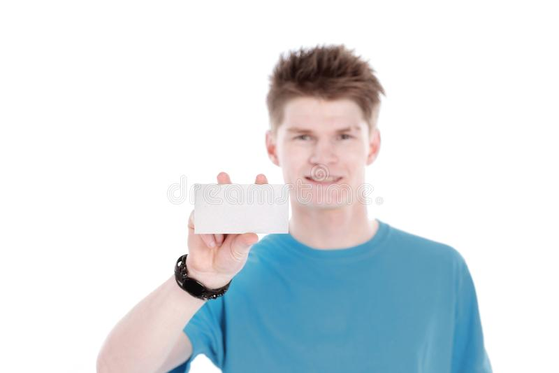 Closeup. modern guy is showing blank credit card stock photography