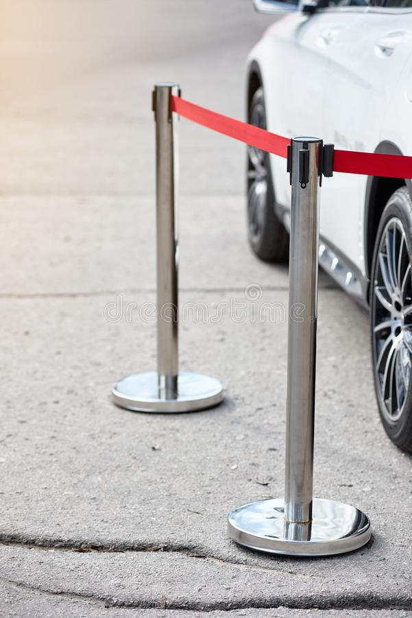 Modern parked car. Closeup of modern sport car parked on outdoor event royalty free stock photo