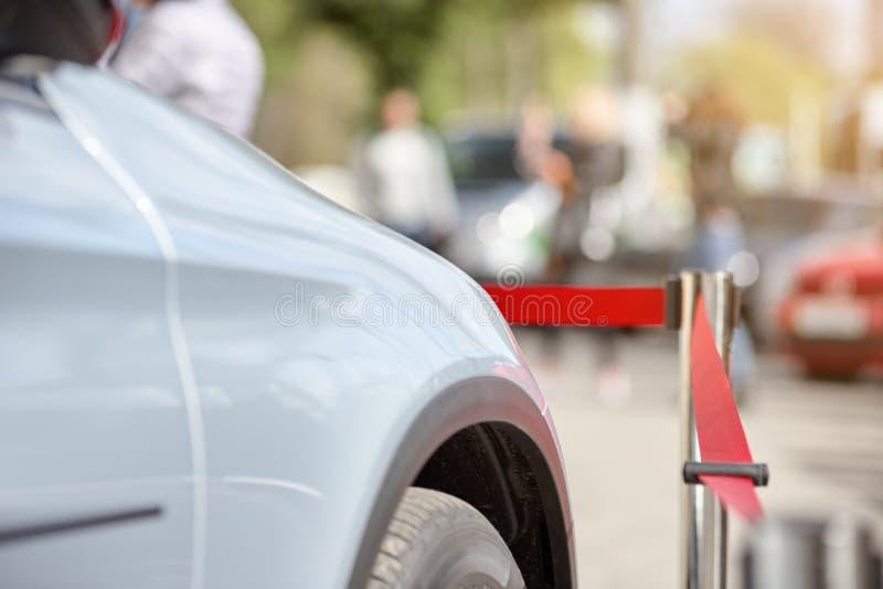 Modern parked car. Closeup of modern sport car parked on outdoor event stock photos