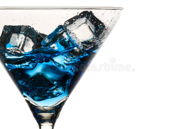 Closeup moving ice cubes in a glass stock photography