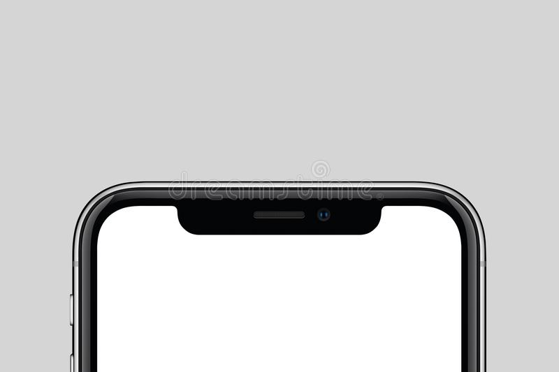 Closeup new modern smartphone similar to iPhone X mockup with copy space on gray background stock image