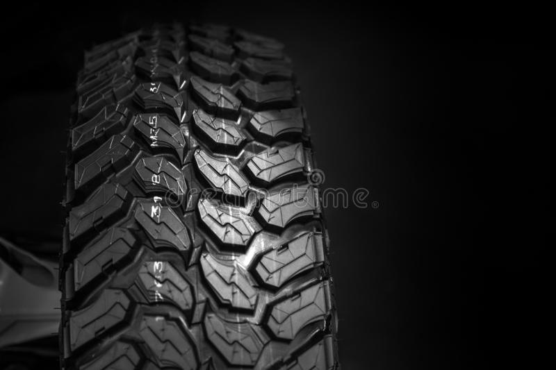 Track off road tyre ATV mud tire with space for advertising background stock photography