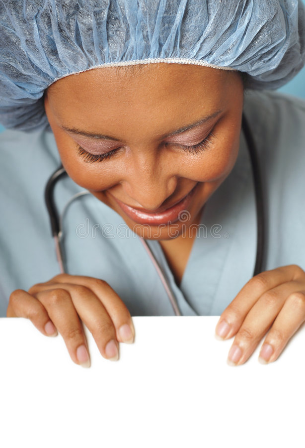 Closeup of nurse with copy space royalty free stock photos