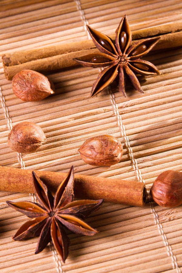 Closeup nuts and star anise stock photography